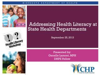 Addressing Health Literacy at State Health Departments
