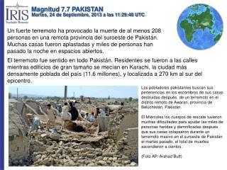 Magnitud 7.7 PAKISTAN Martes, 24 de Septiembre, 2013 a las 11:29:48 UTC