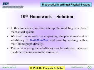 10 th  Homework – Solution