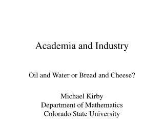 Academia and Industry