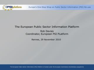Europe's One-Stop Shop on Public Sector Information (PSI) Re-use
