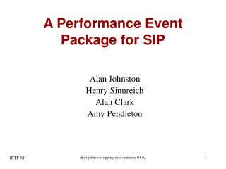 A Performance Event Package for SIP