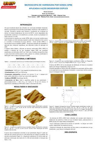 MICROSCOPIA DE VARREDURA POR SONDA (SPM)  APLICADA A AÇOS INOXIDÁVEIS DÚPLEX Nome do aluno 1 ,