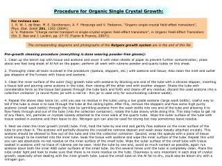Procedure for Organic Single Crystal Growth:
