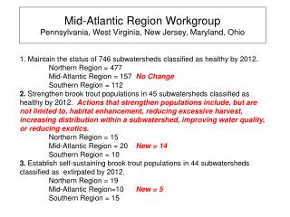 Mid-Atlantic Region Workgroup Pennsylvania, West Virginia, New Jersey, Maryland, Ohio