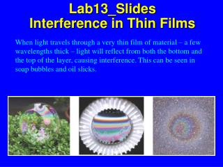 Lab13_Slides Interference in  Thin  Films