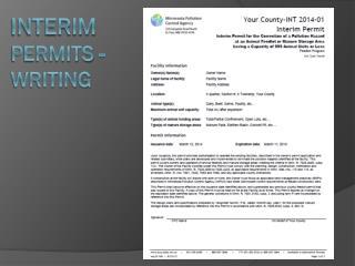 Interim Permits -Writing