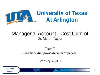 Managerial Account - Cost Control Dr. Martin Taylor