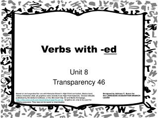 Verbs with - ed
