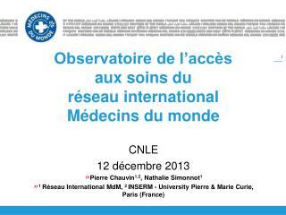 Observatoire de l'accès aux soins du  réseau international Médecins du monde