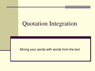 Quotation Integration