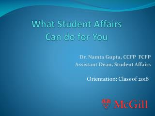 What Student Affairs  Can do for You
