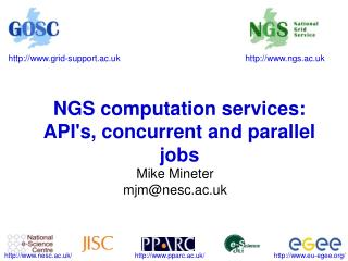 NGS computation services: API's, concurrent and parallel jobs