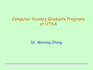 Computer Science Graduate Programs  at UTSA