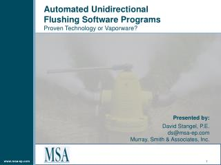 Automated Unidirectional  Flushing Software Programs Proven Technology or Vaporware?