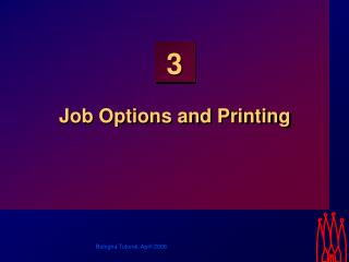 Job Options and Printing