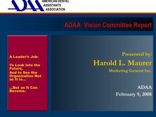 ADAA  Vision Committee Report