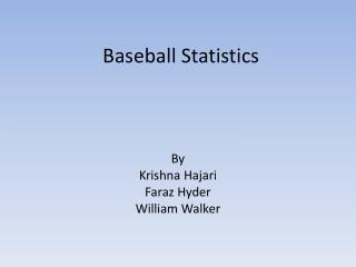Baseball Statistics