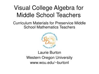 Visual College Algebra for Middle School Teachers
