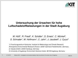 Untersuchung der Ursachen für hohe Luftschadstoffbelastungen in der Stadt Augsburg
