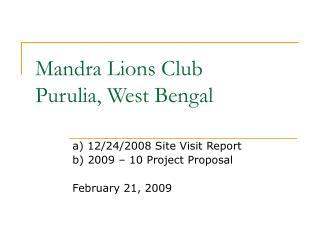 Mandra Lions Club Purulia, West Bengal
