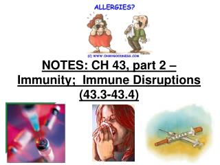 NOTES: CH 43, part 2 – Immunity;  Immune Disruptions (43.3-43.4)