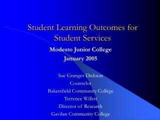 Student Learning Outcomes for Student Services