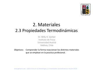 2 . Materiales 2.3 Propiedades Termodinámicas