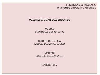 UNIVERSIDAD DE PUEBLA S.C. DIVISION DE ESTUDIOS DE POSGRADO MAESTRIA EN DESARROLLO EDUCATIVO