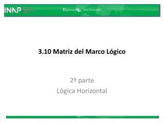 3.10  Matriz del Marco Lógico