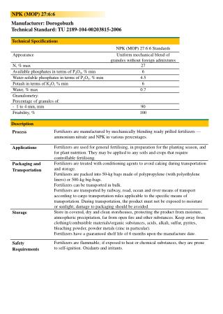 Manufacturer:  Dorogobuzh Technical Standard: TU 2189-104-00203815-2006