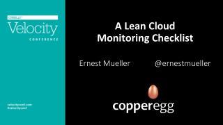 A Lean Cloud  Monitoring Checklist