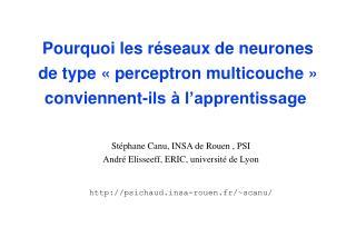 St�phane Canu, INSA de Rouen , PSI Andr� Elisseeff, ERIC, universit� de Lyon