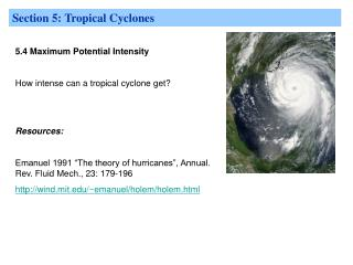 Section 5: Tropical Cyclones