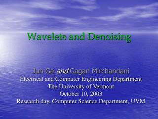 Wavelets and Denoising