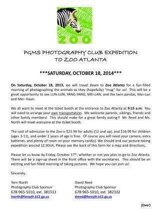 PGMS PHOTOGRAPHY CLUB EXPEDITION  TO ZOO ATLANTA ***SATURDAY, OCTOBER 18, 2014***