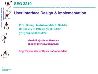 SEG 3210  User Interface Design  Implementation