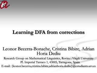Learning DFA from corrections