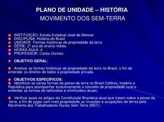 PLANO DE UNIDADE – HISTÓRIA MOVIMENTO DOS SEM-TERRA