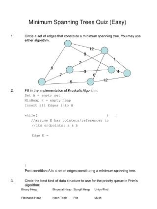 Minimum Spanning Trees Quiz (Easy)