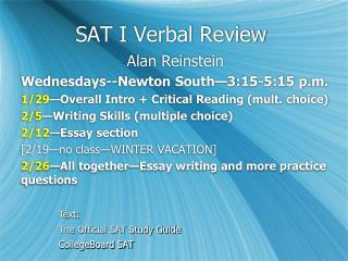SAT I Verbal Review