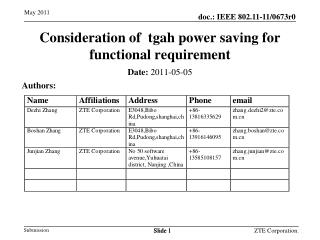 Consideration of  tgah power saving for functional requirement