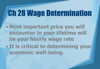 Ch 28 Wage Determination