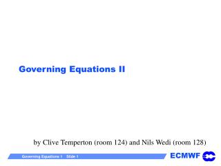 Governing Equations II