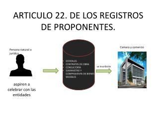 ARTICULO 22. DE LOS REGISTROS DE PROPONENTES.
