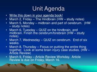 Unit Agenda