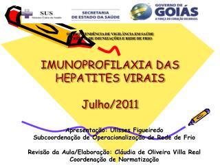 SUPERINTEND NCIA DE VIGIL NCIA EM SA DE GER NCIA DE IMUNIZA  ES E REDE DE FRIO   IMUNOPROFILAXIA DAS HEPATITES VIRAIS  J