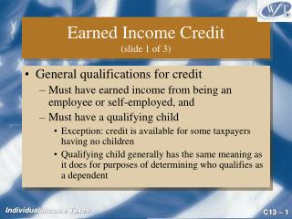 Earned Income Credit  (slide 1 of 3)