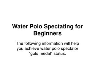 Water Polo Spectating for Beginners