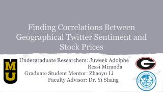 Finding Correlations Between Geographical Twitter Sentiment and Stock Prices